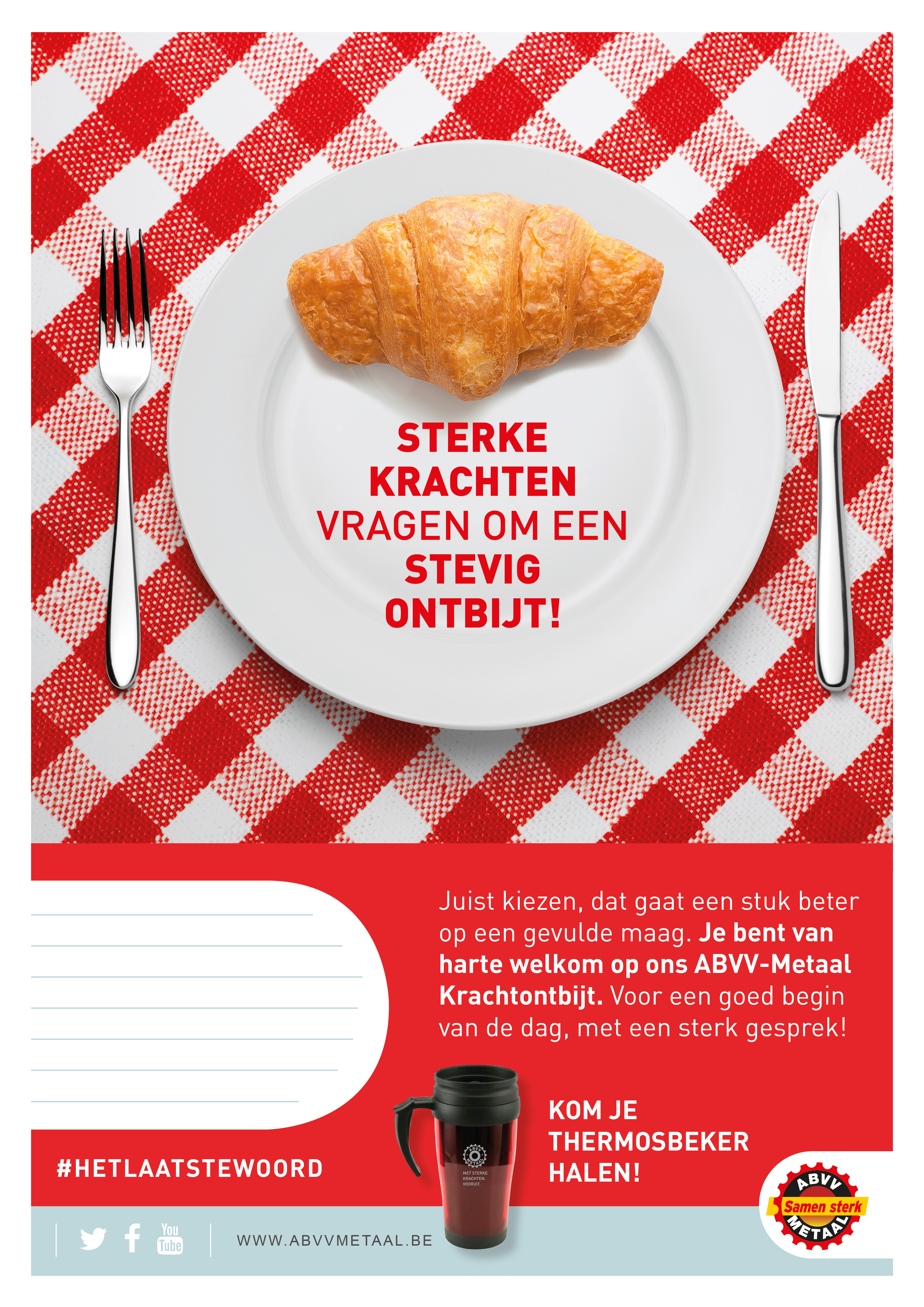 Q16 2391 ABVV Metaal SocVer affiche Ontbijt NL